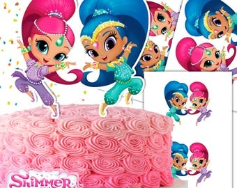 Shimmer and Shine Cake Topper Double-Sided/Printable/Shimmer and Shine Centerpiece/Shimmer and Shine Party/Instant Download