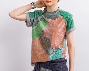 "Linocut handprinted t-shirt ""Leaves"""