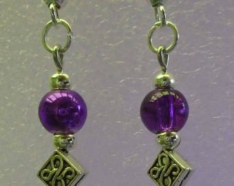 Earrings Crystal/Glass-Purple - Custom Made in the USA with Free Shipping