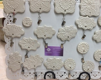 Set of 3 Ceramic Magnets/photo or note holders