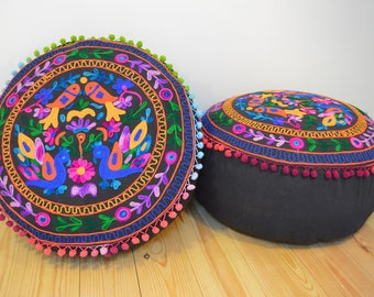 Kashmiri Style Pouf/Beanbag with Embroidered Bird Pattern in Black