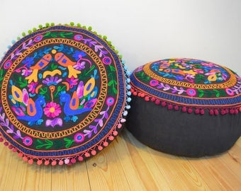 SUMMER SALE! Kashmiri Style Pouf/Beanbag with Embroidered Bird Pattern in Black