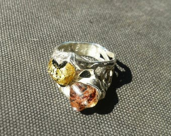 Silver ring. Adjustable. Lampwork Glass shapes. Custom