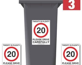 20 Is Plenty Speed Reduction Wheelie Bin Stickers