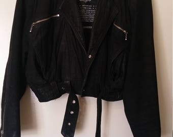 womens vintage suede leather biker jacket