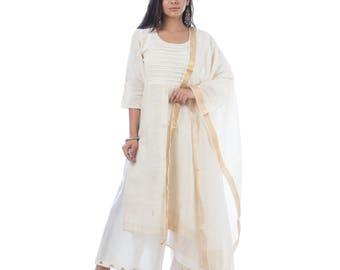 Beige khadi cotton kurta/kurti with pants and dupatta