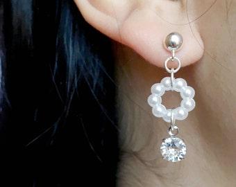 Sterling Silver Earrings, Small Pearl Earrings, Crystal Earrings, Stud Earrings, Wedding Earrings, Bridesmaid Earrings, Prom Earrings