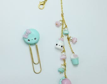 Planner, macaroon, trombone, chowder, ice, fimo, pink, mint - Polymer clay, macaroon, paperclip, marshmallow, pink, kawaii
