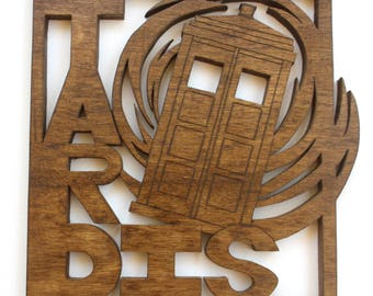 Custom Made Solid Wood Wall Art - Choose Your Design- Doctor Who TARDIS Design