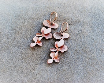 Earrings rose gold plated metal with cascading flowers handmade