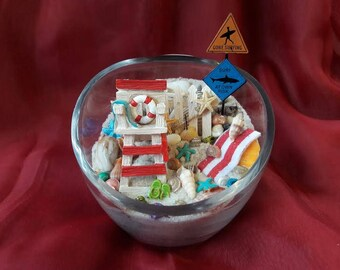 Beach Terrarium with Lifeguard Chair and Surfing Sign~Father's Day~Gift Idea for Dad's Office~Not a Kit