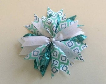 Handmade Sparkle Hair Bow in Seafoam Green and White