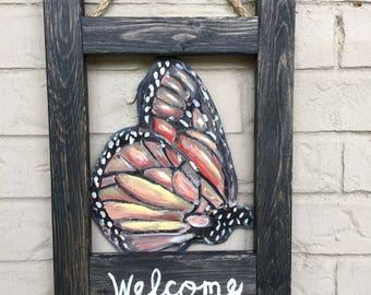 Butterfly Welcome Door Hanger