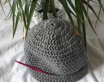 Grey Crochet Beanie