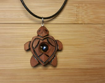 Wooden Turtle Pearl Necklace
