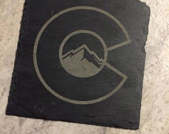 Colorado flag slate coasters - Set of 4