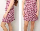 Vintage 60s Babydoll Dress Purple Cream Lace Bib Doll Novelty Print Puff Sleeve Courtney Love Grunge Mini Twiggy Mod SMALL MEDIUM