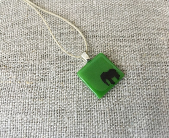 Elephant Pendant Glass Jewelry Necklace of Fused Glass by Happy Owl - pachyderm black on green cute kids jewelry