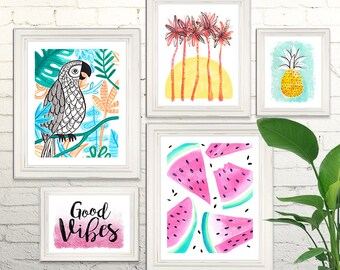TROPICAL SUNSHINE Digital Art Prints Watercolor Illustration Beach California Nursery Art Clipart Gallery Watermelon Parrot Pineapple
