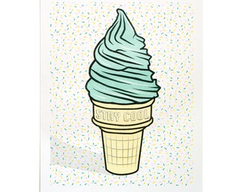 Stay Cool ice cream risograph art print