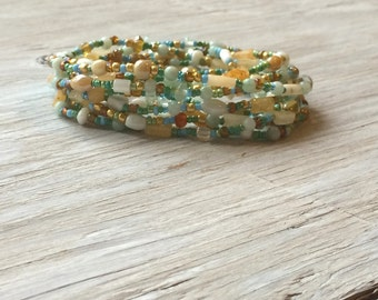 Long seed bead necklace or multi wrap bracelet, gemstone and glass beaded bracelet