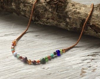 Glass beaded necklace, copper with multi color beads