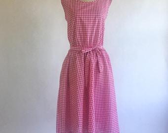 Vintage Hot Pink Gingham Day Dress by Improved Living Size Large