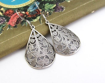 Art Deco Earrings, Filigree Style, Art Nouveau, Antiqued Silver Tone, Wedding Jewelry, Boho Bohemian Earrings, Gift for Her