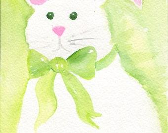 Green Bunny Rabbit Watercolor Painting Original , 5 x 7 Nursery wall art, spring wall art, rabbit decor, rabbit art, Rabbit painting,