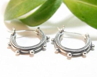 Silver Earrings Silver Hoop Earrings Sterling Silver Hoop Textured Hoops Droplets Handmade Earrings, Handmade, PNW Pine Forest Earrings