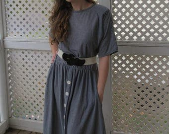 Comfortable T-Shirt Material Striped Slouchy Dress with Buttons and Belt - Size 12/14 Large
