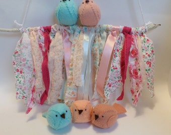 Reserved - Nursery wall art - pink nursery decoration, ribbon garland, ribbon mobile, bird mobile