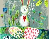 Bunny Print, Art Print, Wall Art, A4 Print