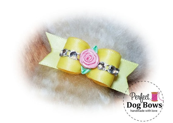 Sweetheart Dog Bow, Yellow Puppy Bow, Bling Pet Hair Bow, Fancy Dog Bows