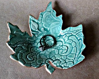 Ceramic Leaf Ring Dish Pale Sea Green with gold edging