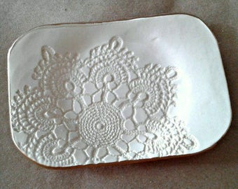 Ceramic Lace Trinket  Dish Soap dish OFF WHITE Cream gold edged