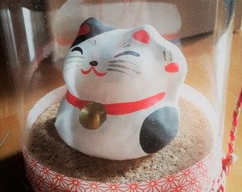 Japanese Papier-maché  Maneki neko in a dome, lucky cat
