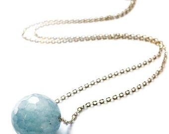 Angelite Gemstone Single Bead on Silver Chain Necklace