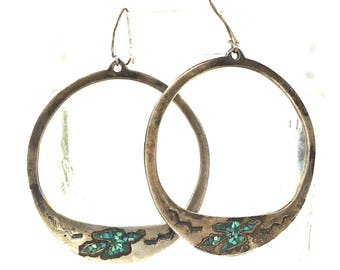 Navajo Turquoise & Sterling Silver Earrings / Vintage Old Pawn Sand Cast Native American Jewelry / Thunderbird Hoops / Turquoise Chip Inlay