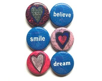 Hearts and Words Magnets or Pins - Inspirational Magnet Set, Pin Set, Believe, Dream, 1 inch pinback buttons, Heart magnets, fridge magnets