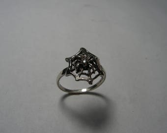 Sterling Silver Spider On Web Ring