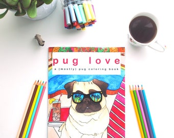 Dog Coloring Book, Pug Dog Lover Gifts For Women, Stress Relief, Best Dog Lover Gifts,Gifts For Girls Under 20,Pug Adult Coloring Book Print