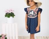 Unicorn print polka dot dress toddler girls Supayana SS2017