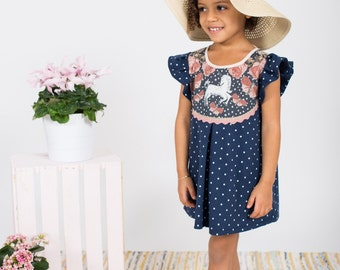 Unicorn print polka dot dress toddler girls Supayana SS2017