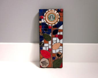 Reduce. Reuse. Recycle. (A Handmade Original Upcycled Starbucks Cap Flower Mixed Media Mosaic by Shawn DuBois)