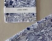Leeds Hankie screenprinted vintage map handkerchief