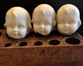 SALE 3 Vintage Dug Up BOY Doll HEADS Halloween Doll Parts Jewelry Supplies Assemblage Curiosity Cabinet Frozen Charlotte Doll Supplies z21