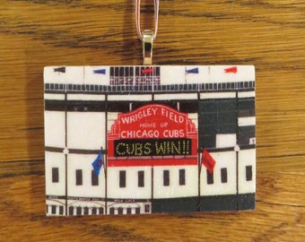 CUBS WIN!! Chicago Cubs Ornament, Decoupaged Ornament, Original Painting, Wrigley Field, World Series Winner! 2.5 x 1.75