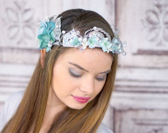Silver and Blue Elven Crown, Ocean Goddess Headpiece, Jewelled Mermaid Crown, Costume HeaddressCirclet, Flower Crown, Woodland, Bridal Crown