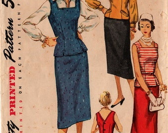 1950's Misses' BLOUSE SKIRT JERKIN Pattern Simplicity #1053 Size 12 Overblouse Slim Skirt Mid-Century Fashions Vintage Sewing